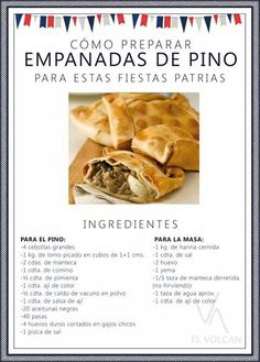 Empanadas de pino Chilean Food, Chilean Recipes, Tortas Sandwich, Boricua Recipes, Empanadas Recipe, Vegan Menu, Quiches, No Cook Meals, Mexican Food Recipes