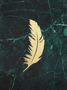 Poster with marble and a feather in gold