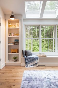 Delightful barn style home in New Hampshire with a cottage-inspired feel #window #seat #nook #reading Crown Point Cabinetry, Yankee Barn Homes, Glass Porch, Exterior Color Palette, New England Farmhouse, Cottages And Bungalows, American Farmhouse, Farm Cottage, Bookshelves Built In