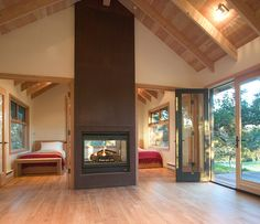 Feldman Architecture - contemporary - bedroom - san francisco - Feldman Architecture, Inc. Contemporary Cottage, Contemporary Bedroom, Double Sided Fireplace, Cottage In The Woods, A Frame Cabin, Cabins And Cottages, Metal Homes, Cottage Homes, House Plans