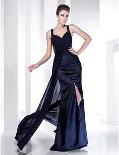 Sheath/ Column Straps Floor-length Chiffon Evening Dress With Split Front - USD $ 179.99