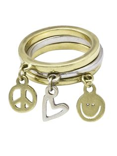 Peace Love World White Gold, Yellow Gold Sterling Silver Ring Mix