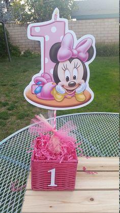 Bebé Minnie Mouse centro de mesa 1er por SilviasPartyDecor en Etsy