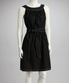Take a look at this Black & White Belted Yoke Dress by Emma & Michele on #zulily today!