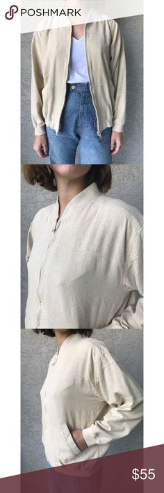 [vintage] 100% raw silk cream bomber jacket The perfect lightweight spring jacket. 100% raw textured silk (my fave fabric) in a minimalist bomber cut with ribbing at hems. Dropped double seam shoulder detail. Neutral cream/ivory/beige color. Favorite find. Seen on small 32dd model, recommend for xs-s. Thinking about keeping tbh. Vintage Jackets & Coats Utility Jackets
