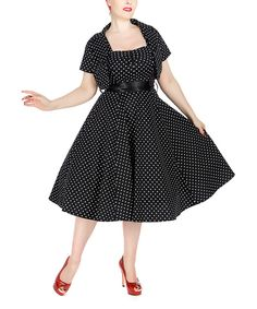 Look at this HEARTS & ROSES LONDON Black & White Dot A-Line Dress & Bolero - Women & Plus on #zulily today!