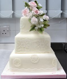 3 Tier Square Wedding Cake with Sugarveil, roses and sweet peas   Flickr - Photo Sharing!