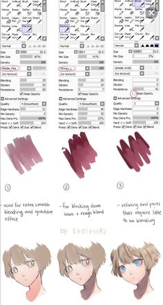 Here are the brushes I use for painting in Paint Tool Sai.I originally made this for :iconKimikii: but decided why not share it with everyone els. Brush Settings and Tutorial Digital Painting Tutorials, Digital Art Tutorial, Painting Tools, Painting Art, Skin Drawing, Drawing Tips, Drawing Tutorials, Texture Drawing, Paint Texture