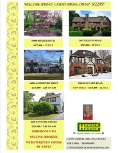 Spring Open Houses Sunday 3/22nd*