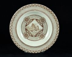 Antique Staffordshire Brown Transferware Aesthetic Movement 'Wisconsin' Bowl by William Brownfield