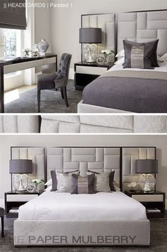 padded upholstered headboard in shades of grey    The Paper Mulberry:    HEADBOARDS   Padded and Upholstered