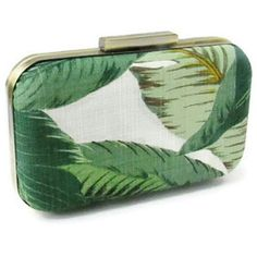 'Beverly Hills' Vintage 1940s style banana palm print leaf clutch bag ($52) ❤ liked on Polyvore featuring bags, handbags, clutches, vintage clutches, green purse, palm tree purse, leaf purse and vintage handbags