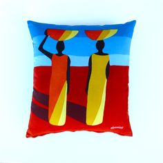 Women in Yellow and Orange on Blue and Rust Cushion Cover | Cushinn | madeit.com.au