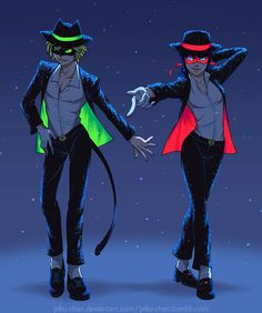"""piku-chan: Ladynoir Dancers """" It was supposed to be just Chat but I'm shipping trash so have a Ladynoir moonwalk dance-off (Chat wins and gets on a kiss on the cheek yaaaaaayyyy *bricked*). Outfits referenced from one..."""
