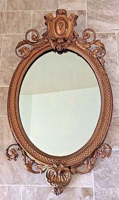 Antique Ornate Oval Mirror with Gilt Gesso & Wood Frame #Mirrors