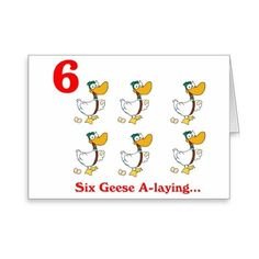 On the 6th Day of Christmas six Geese a-laying Greeting Card (£2.48) ❤ liked on Polyvore featuring home, home decor, stationery, christmas song, farm and holiday