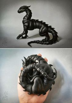 This is very cool: Dragon made entirely of ball joints allows you to pose & make it curl up in your hand: