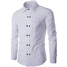 Double Breasted Solid Color Shirt Collar Long Sleeves Shirt For Men (49 BRL) ❤ liked on Polyvore featuring men's fashion, men's clothing, men's shirts, men's casual shirts, mens extra long sleeve shirts, mens long sleeve shirts, mens long sleeve casual shirts and mens longsleeve shirts