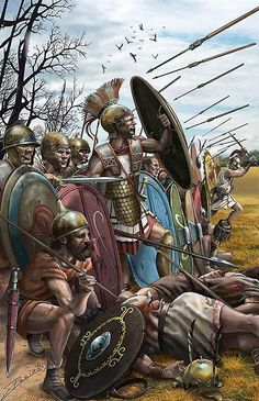 Carthagininian battle line at the Battle of Ilipa, 206 BCE. - art by Pablo Outeiral ~ the artist represents them more like the veterans of Hannibal, which were made up of Iberians, Celts and Africans all armoured with scavenged Roman armour. These troops of Hasdrabal's would have been armoured more like the fellow on the left with the bronze and black helmet.