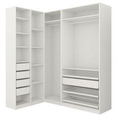 PAX Corner wardrobe - white, Grimo white - IKEA