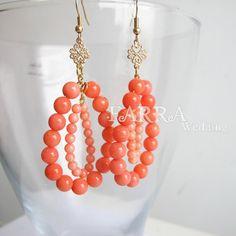 valentines day bridesmaid earrings orange teardrop by FARRAwedding www.farrawedding.etsy.com