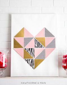 diy chambre ado, coeur de triangles colorés rue une toile blanche, exemple d activité manuelle pour ado artistique