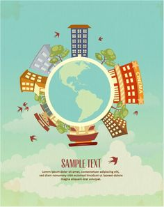 Vector illustration with buildings and earth globe Vector Graphics, Vector Art, Image Graphic, Globe Vector, Digital Web, Tree Illustration, Vector Background, Design Art, Vectors