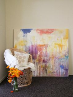Large Watercolour Painting by Bec Brown - Clouds of Colour