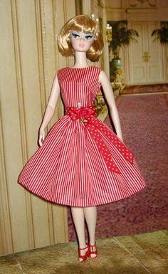 Retro Vintage styled OOAK Silkstone Barbie Dress with by dollsaga