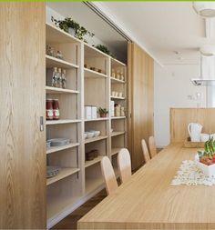 Home Decor Kitchen, Kitchen Interior, Home Kitchens, Muji Home, Sweet Home Design, Dining Cabinet, Hidden Kitchen, Mid Century Modern Kitchen, Luxury Kitchen Design
