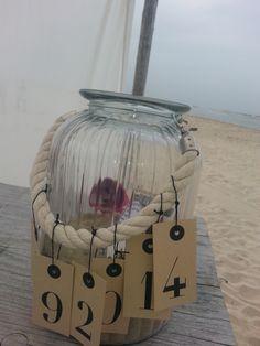 """Kado met de trouwdatum. """"Verzamel de schatten van het strand"""""""