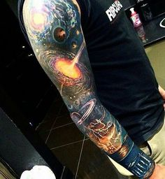 Here's a more realistic design that you can fill up your sleeve with. It indicates some of the amazing wonders of the universe.