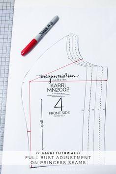 megan nielsen design diary: How to do a full bust adjustment (FBA) on princess seams // A Karri dress tutorial