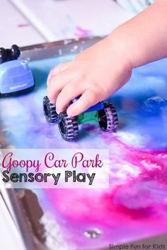 We love simple low-mess sensory play for toddlers, preschoolers, and kindergarteners! My added his own personal spin on this Goopy Car Park Sensory Play activity and had an absolute blast! Goop only requires 3 simple ingredients that you probab Activities For 1 Year Olds, Car Activities, Play Activity, Preschool Activities, Children Activities, Preschool Class, Preschool Learning, Indoor Activities, Teaching