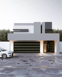 Remodeling Casa CZ by gb architect - casas Architecture ideas House Gate Design, House Front Design, Modern House Design, Door Design, Exterior Design, Modern Houses, Luxury Houses, Modern Garage Doors, Build Your House