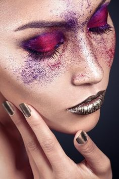 Artistic Beauty. Metal lips and purple powder. Learn how to become a makeup artist online. GO HERE www.temacourse.com