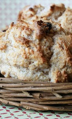 Cinnamon Raisin Biscuits - bisquick, milk, raisins, and sugar... these are AMAZING with coffee for breakfast!