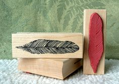 Feather rubber stamp from oldislandstamps by oldislandstamps