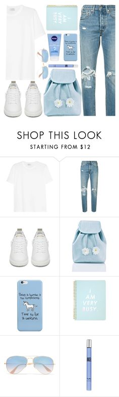 """""""because I love blue 2.0"""" by valemx ❤ liked on Polyvore featuring Yves Saint Laurent, Levi's, Golden Goose, Sugarbaby, ban.do, Ray-Ban and Thierry Mugler"""