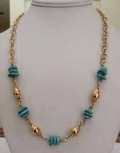 "22"" VERONESE ITALY 18K GOLD CLAD STERLING SILVER TURQUOISE GEMSTONE NECKLACE"