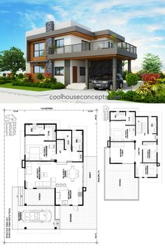 Four Bedrooms Two Storey Modern House Philippine Houses, Cad File, Simple House Design, House Layouts, Bedrooms, Floor Plans, Mansions, House Styles, Modern