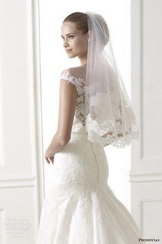 pronovias 2015 pre bridal collection botica illusion cap sleeve wedding dress back view