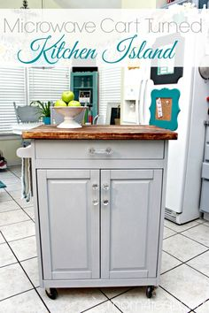 Microwave Cart Turned Kitchen Island #homedepot #minwax