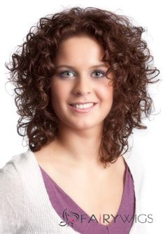 Perfect Full Lace Medium Curly Brown Remy Hair Wig