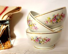 Three French bowls in bone china white with flower by MaisonMaudie, $24.00