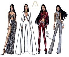 https://flic.kr/p/qxoVaU | The Aaliyah Tour collection by Hayden Williams | All 4 costume designs that i came up with for an Aaliyah tour.  Happy Birthday Aaliyah!