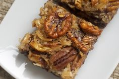 German Chocolate Pecan Pie Bars | Bake or Break. This food blog looks wonderful!