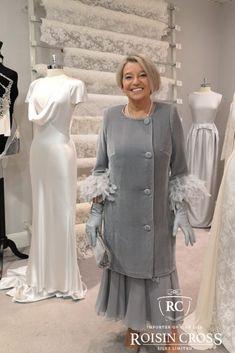 Dove Grey Silk Velvet and Silk Chiffon Coat and Dress Dove Grey, Groom Dress, Design Consultant, Silk Chiffon, Dressmaking, Mother Of The Bride, Velvet, Lady, Coat