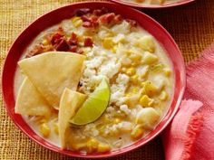 Corn Chowder with Chili Powder and Crumbled Cotija Cheese : Recipes : Cooking Channel : Nadia G