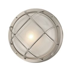 Design Classics Lighting Marine Bulkhead Round Outdoor Wall / Ceiling Light - 10-inches Wide 39556 SS
